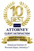 10 BEST ATTORNEY CLIENT SATISFACTION | 2018-2019 | HIGH VERDICT & SETTLEMENT WINNER
